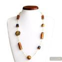 Romantica - Amber and gold Murano glass necklace real jewel of venice Italy