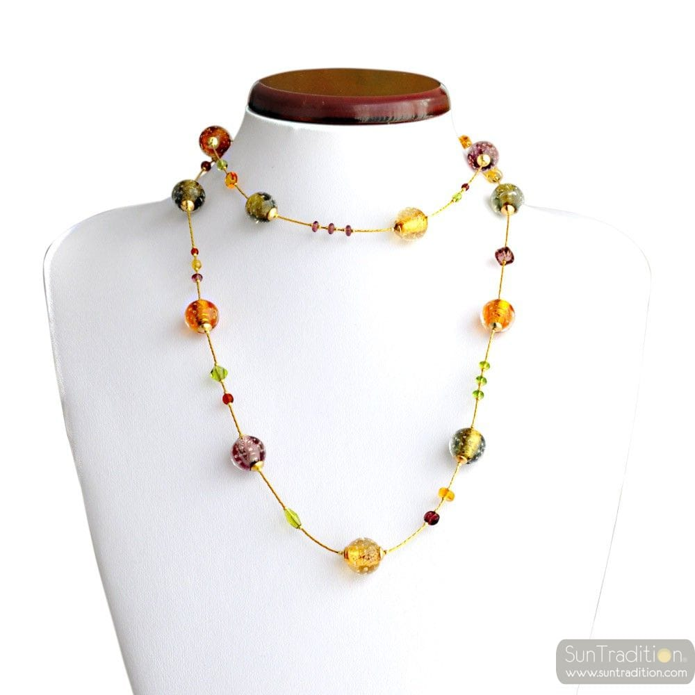 AMBER GENUINE MURANO GLASS NECKLACE