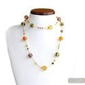 Fizzy amber long - Long amber Murano glass necklace genuine venitian jewel of Italy