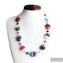 Colorado blue - Blue and red Murano glass necklace real venitian beads of Italy