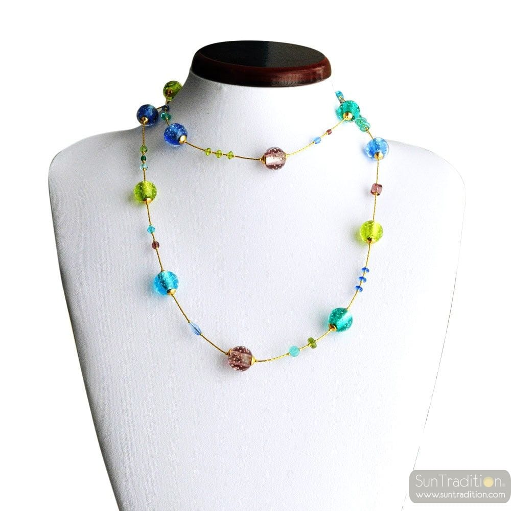 BLUE GENUINE MURANO GLASS LONG NECKLACE