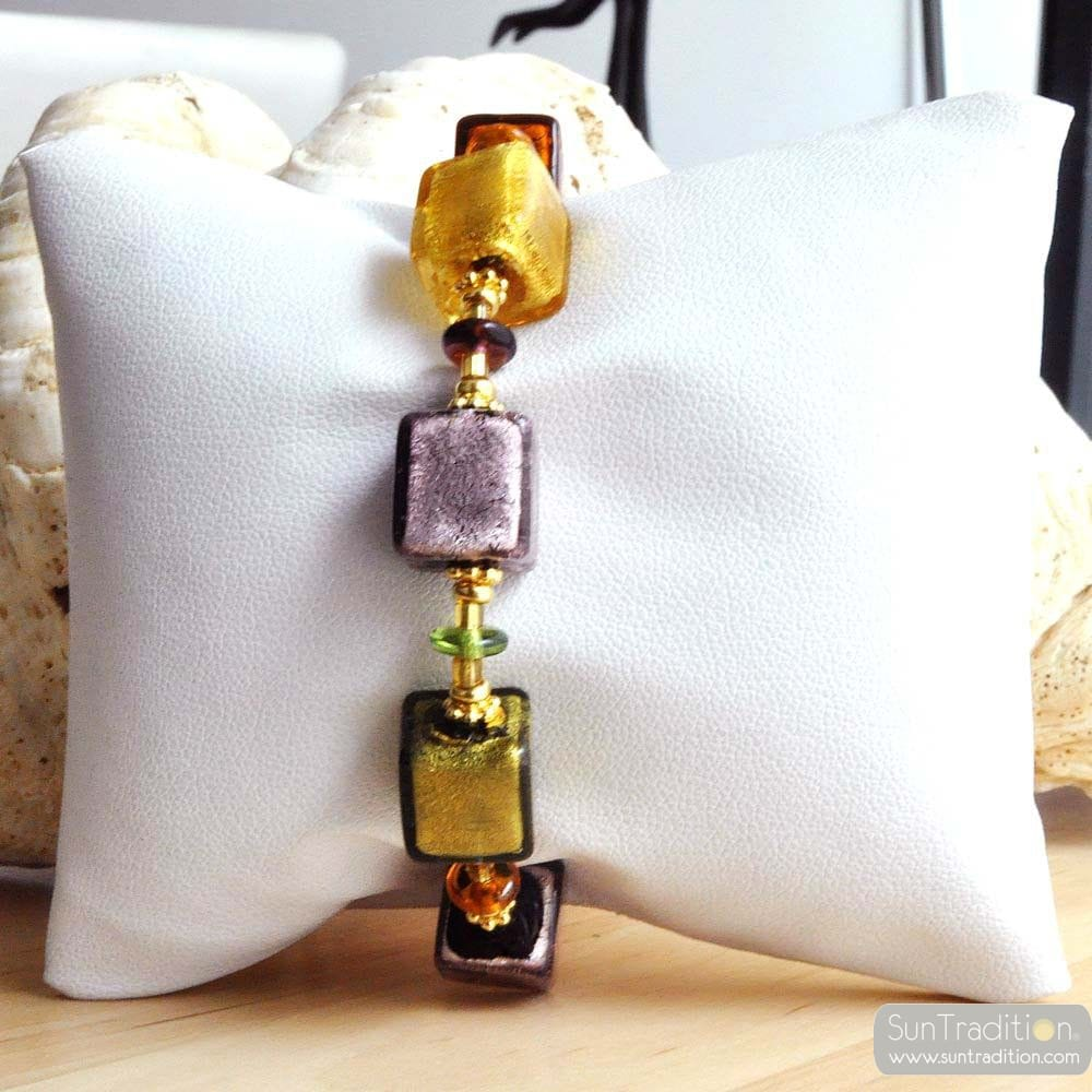 GOLD MURANO GLASS BRACELET AMBER PARMA GENUINE MURANO GLASS