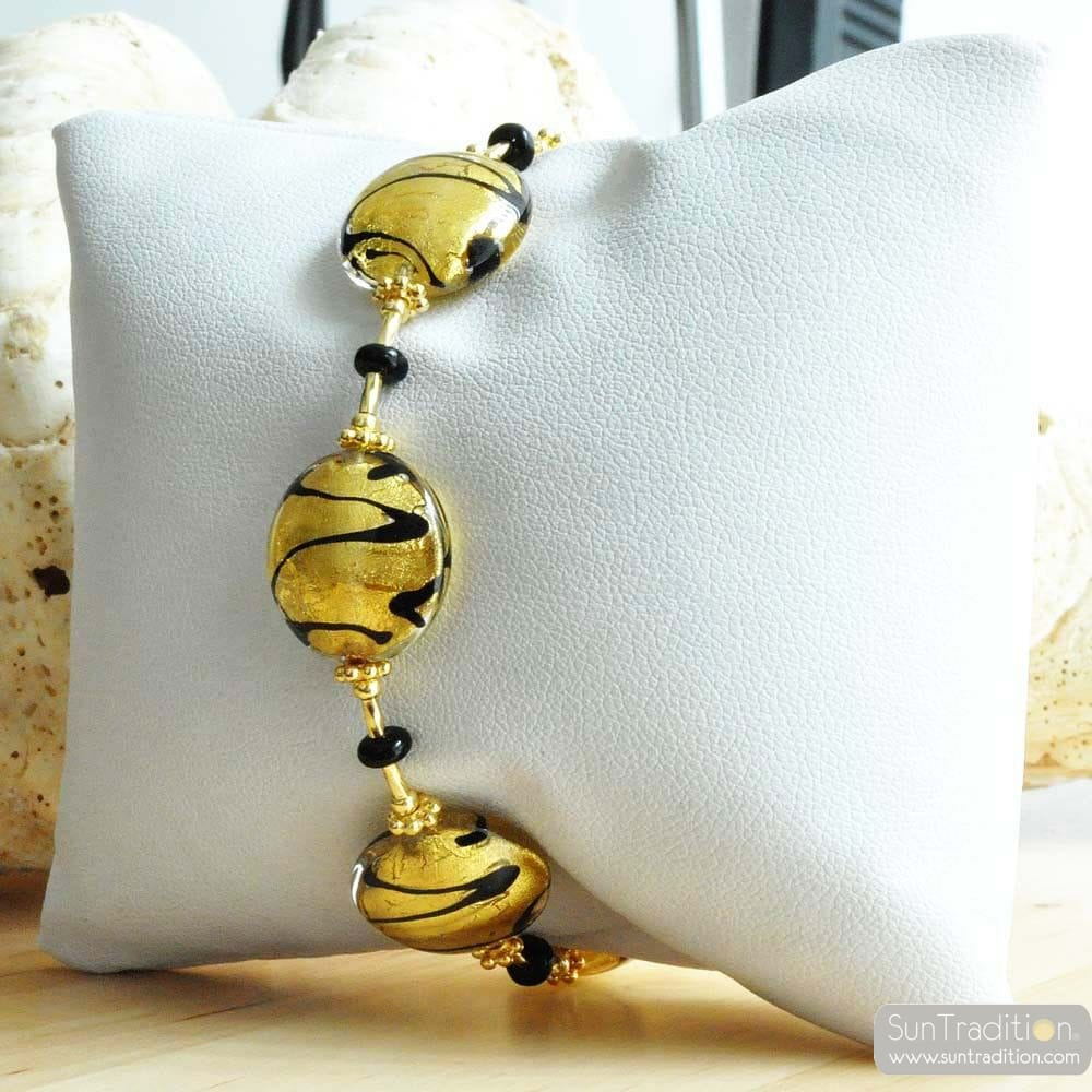 GOLD MURANO GLASS BRACELET VENITIAN JEWELRY