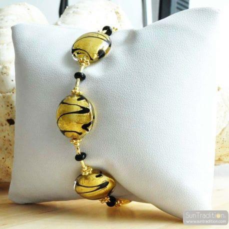 GOLD MURANO GLASS BRACELET VENITIAN JEWELRY