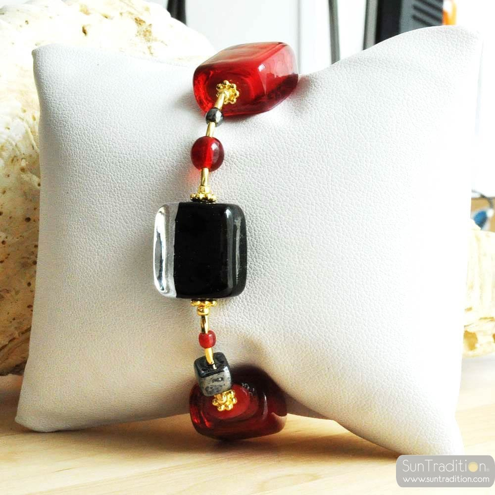 SCHISSA RED AND BLACK GENUINE MURANO GLASS BRACELET