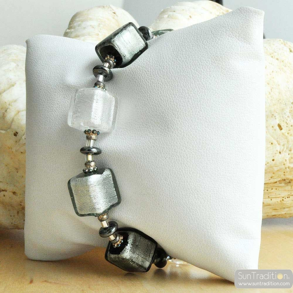 DEGRADED CUBES IN REAL SILVER BRACELET MURANO GLASS OF VENICE
