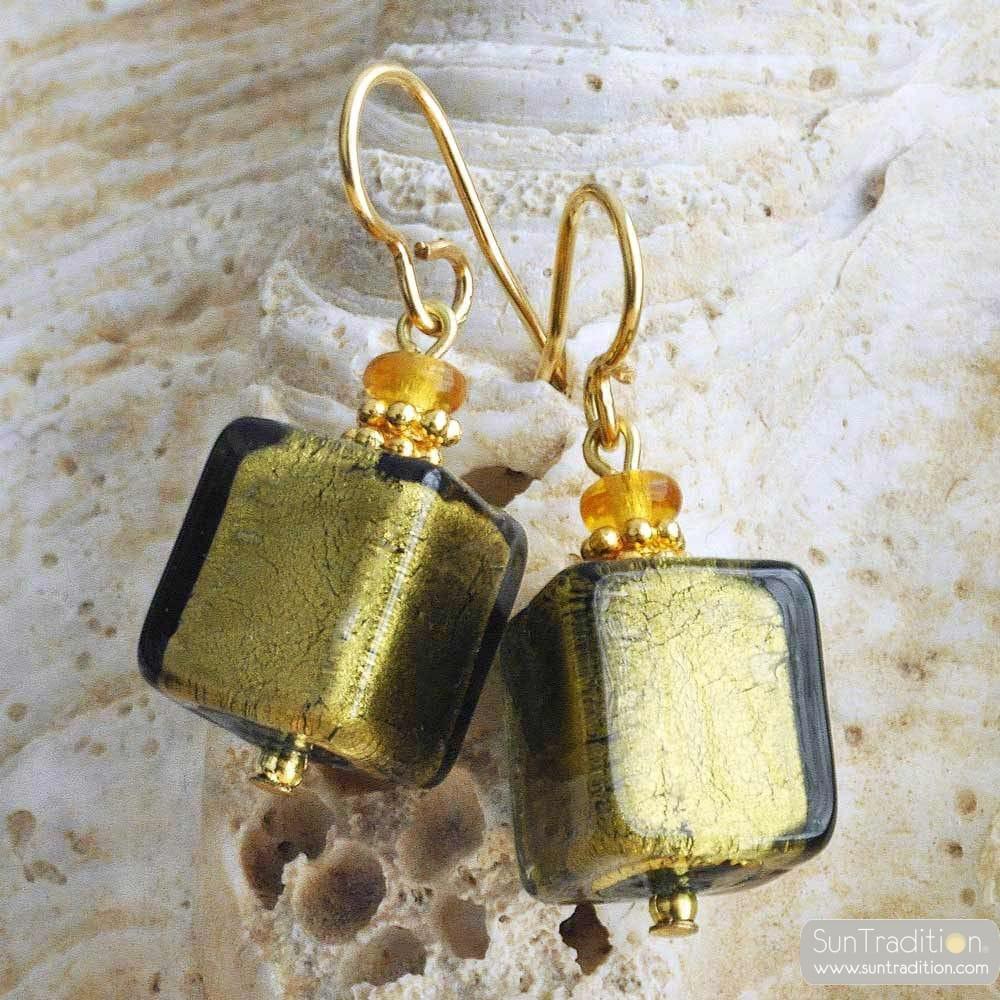 AMERICA KAKI - KAKI GREEN AND GOLD EARRINGS REAL VENICE MURANO GLASS