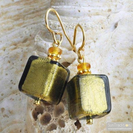 KAKI AND GOLD MURANO EARRINGS REAL VENICE MURANO GLASS
