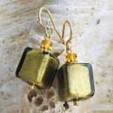 AMERICA - KAKI AND GOLD EARRINGS REAL VENICE MURANO GLASS