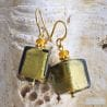 KAKI AND GOLD MURANO GLASS EARRINGS REAL VENICE MURANO GLASS