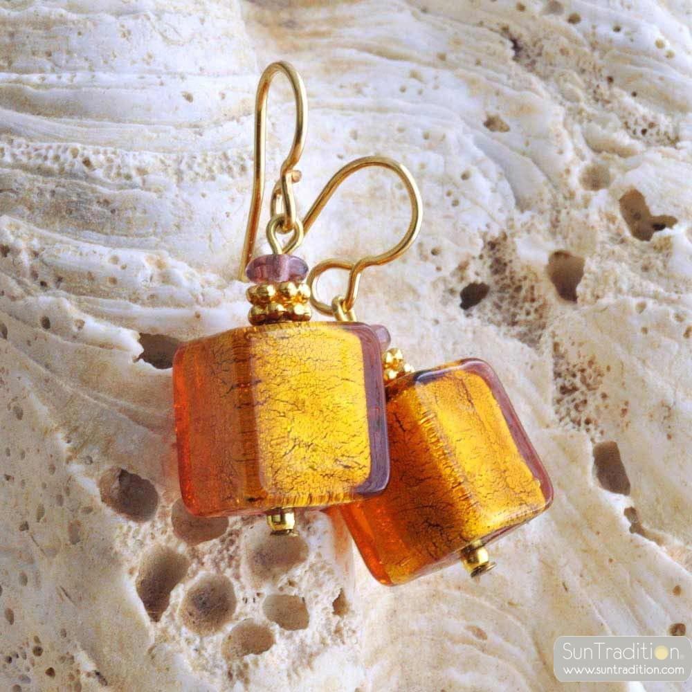 AMERICA AMBER AND GOLD EARRINGS GENUINE MURANO GLASS OF VENICE