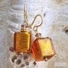 AMBER MURANO GLASS EARRINGS GENUINE MURANO GLASS OF VENICE
