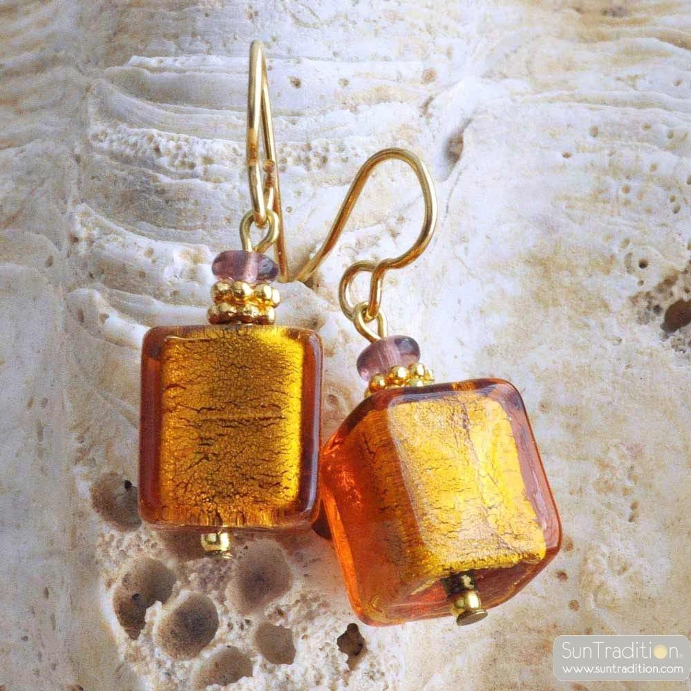 AMBER MURANO GLASS EARRINGS GENUINE MURANO GLASS OF VENICE