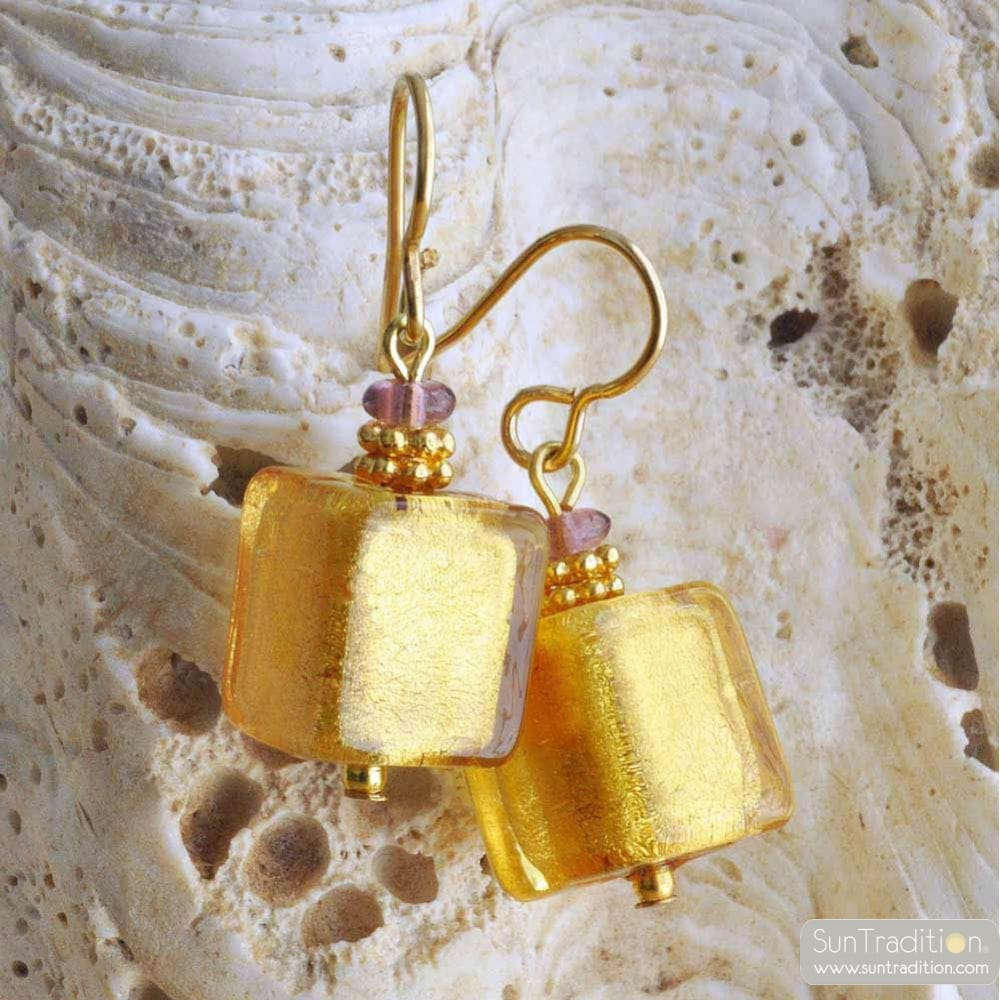 AMERICA GOLD EARRINGS GENUINE MURANO GLASS OF VENICE