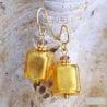 GOLD MURANO GLASS EARRINGS GENUINE MURANO GLASS OF VENICE