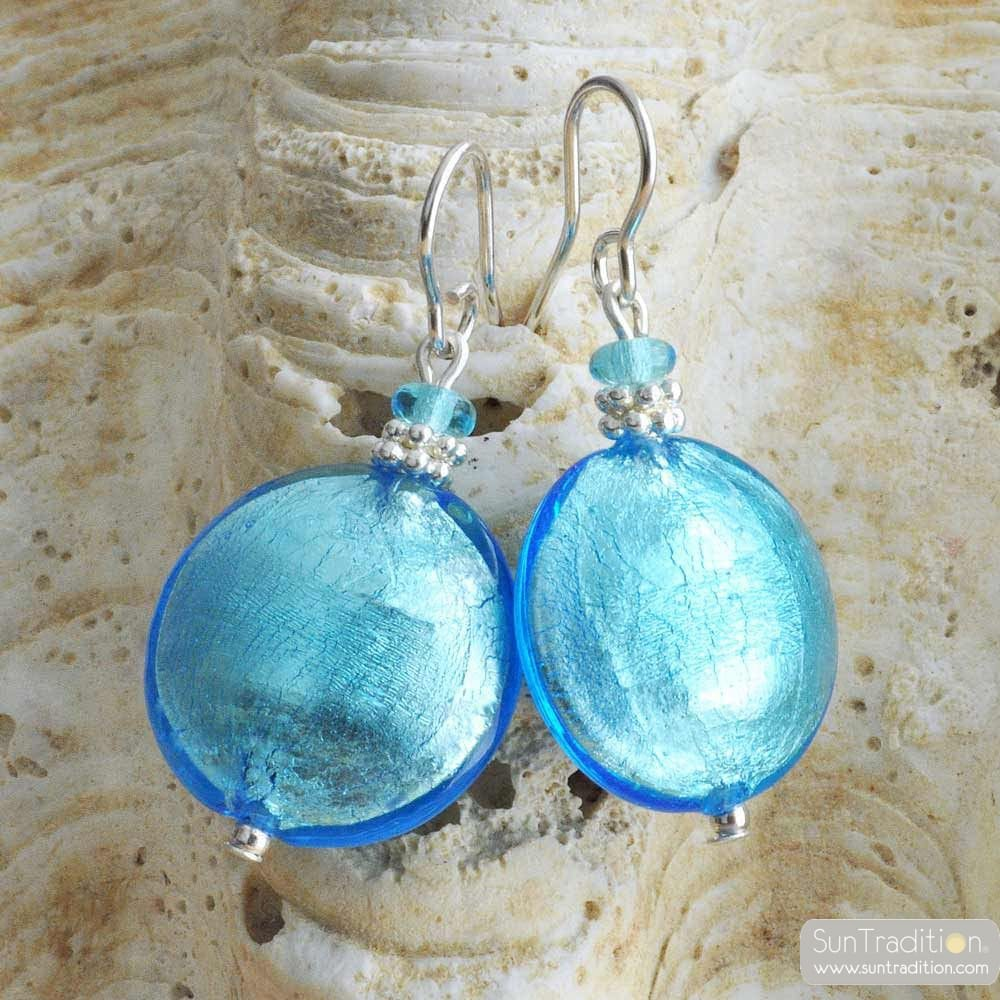 PASTIGLIA BLUE AZURE - BLUE MURANO GLASS EARRINGS GENUINE GLASS OF VENICE
