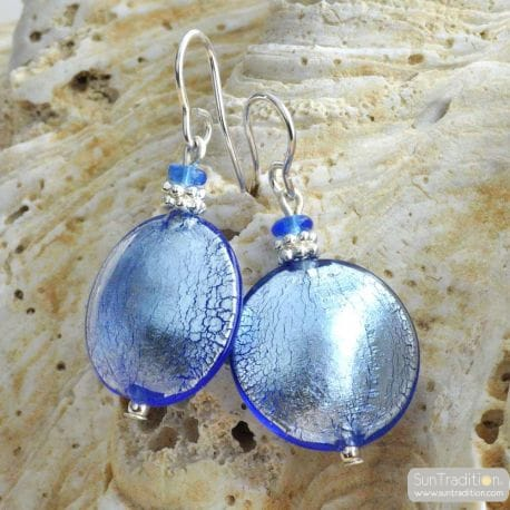 BLUE OCEAN MURANO GLASS EARRINGS REAL VENITIAN MURANO GLASS JEWELRY
