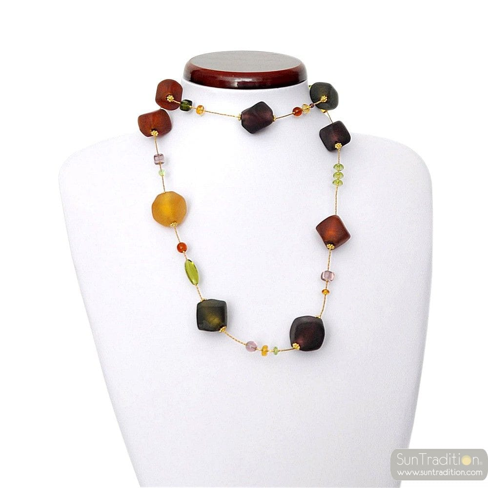 SCOGLIO SATIN COLOR FALL NECKLACE LONG GENUINE MURANO GLASS VENICE