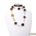 Scoglio satin color fall - Gold and brown Murano glass satin pearls necklace real venitian jewellry from Italy