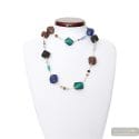 SCOGLIO LONG BLUE NECKLACE OPERA IN REAL GLASS MURANO VENICE