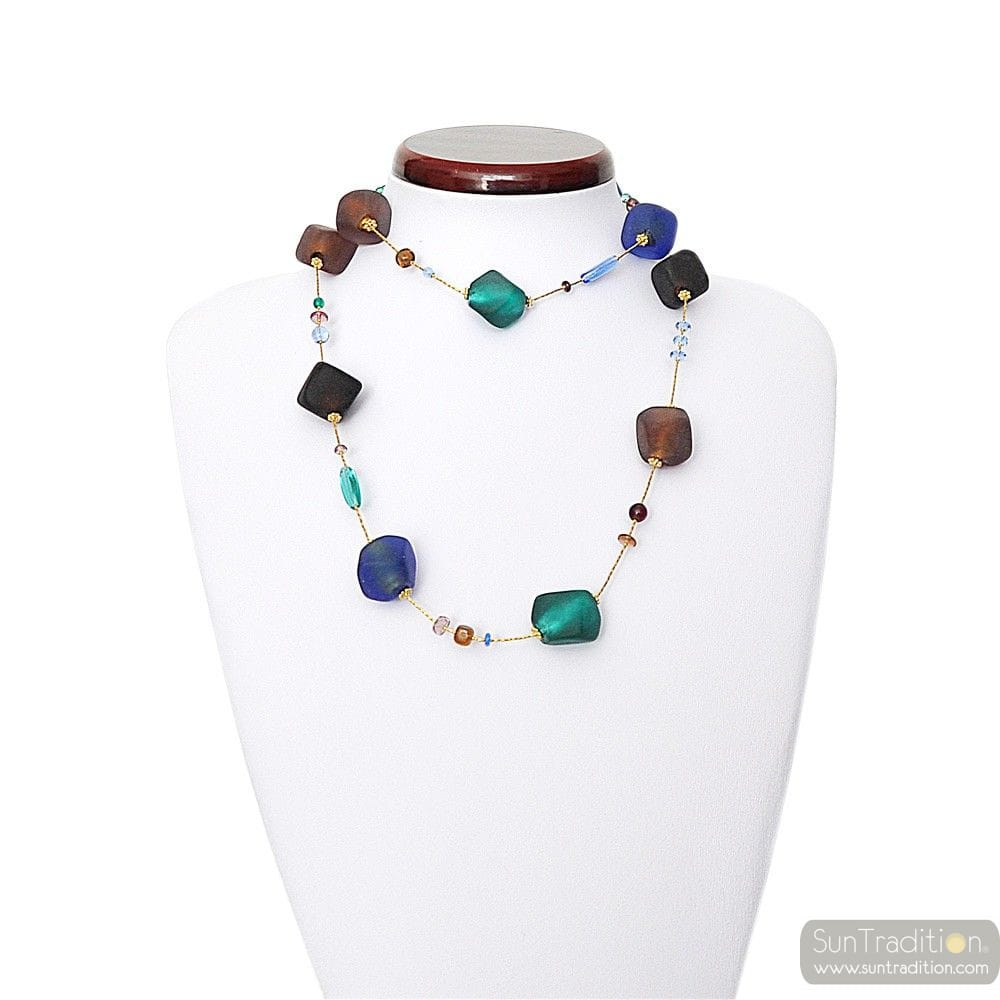 NECKLACE MURANO LONG BLUE GLASS OF VENICE