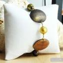 Francy gold satin - Satin gold Murano glass bracelet from Venice Italy