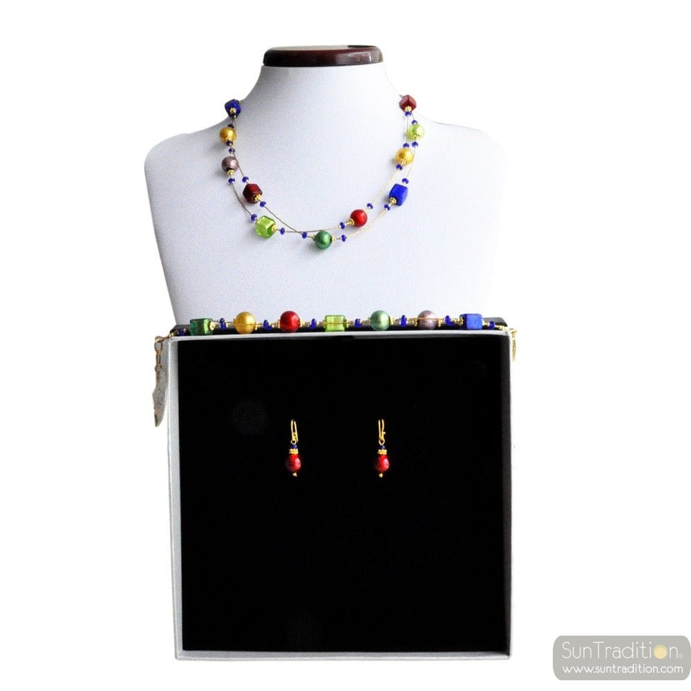 PENELOPE RED - RED MURANO GLASS JEWELLERY SET IN REAL VENITIAN GLASS