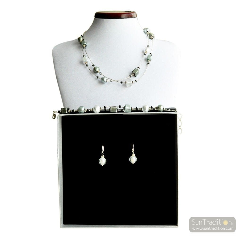 PENELOPE SILVER - SILVER MURANO GLASS JEWELLERY SET FROM VENICE