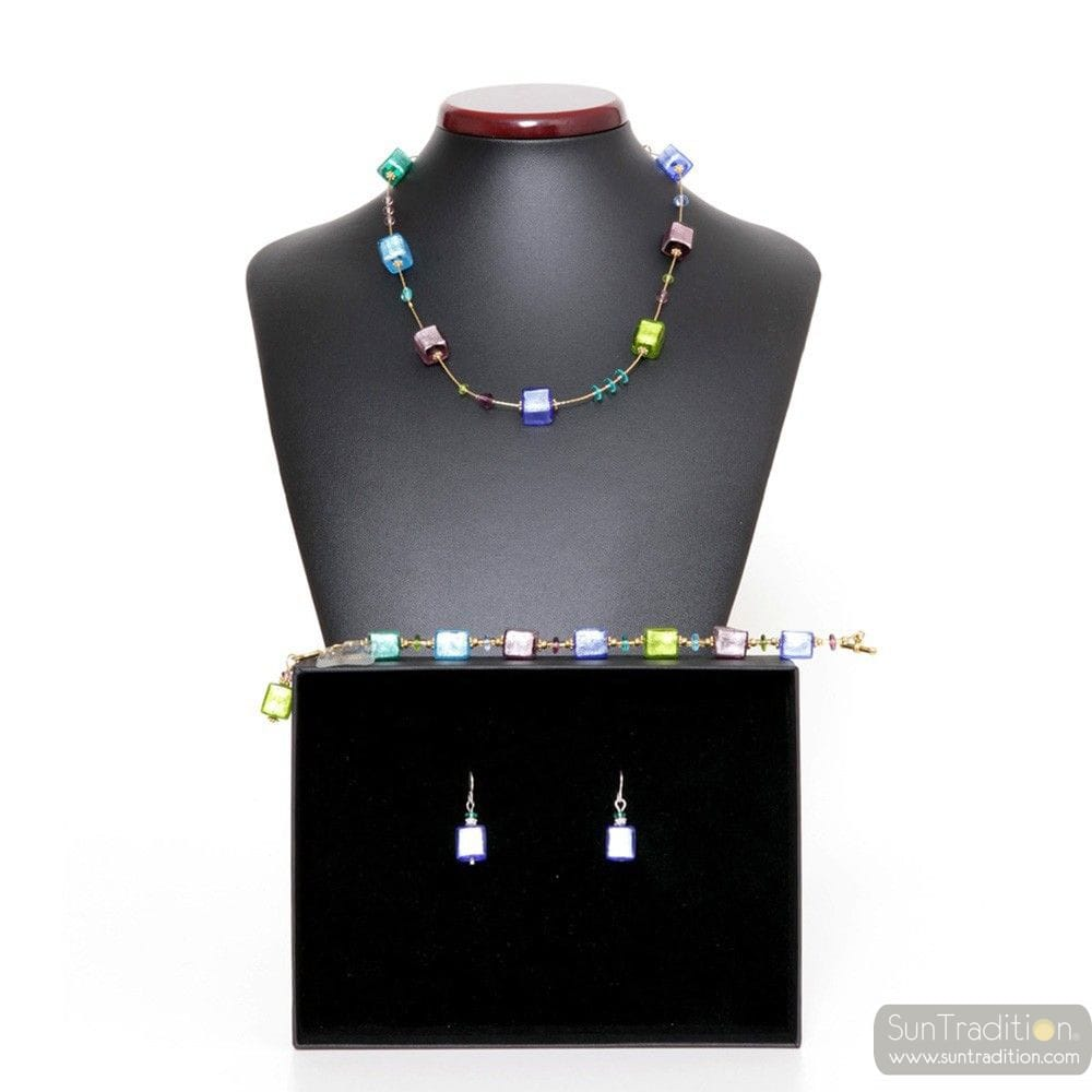 AMERICA BLUE - BLUE MURANO JEWELLERY SET IN REAL MURANO GLASS VENICE
