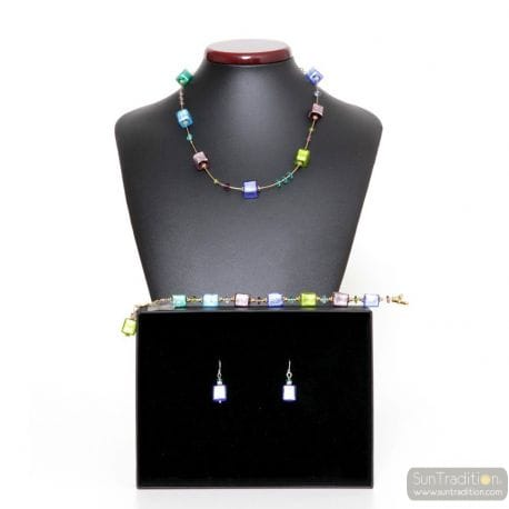 MULTICOLOR MURANO GLASS SET JEWELRY OF VENICE