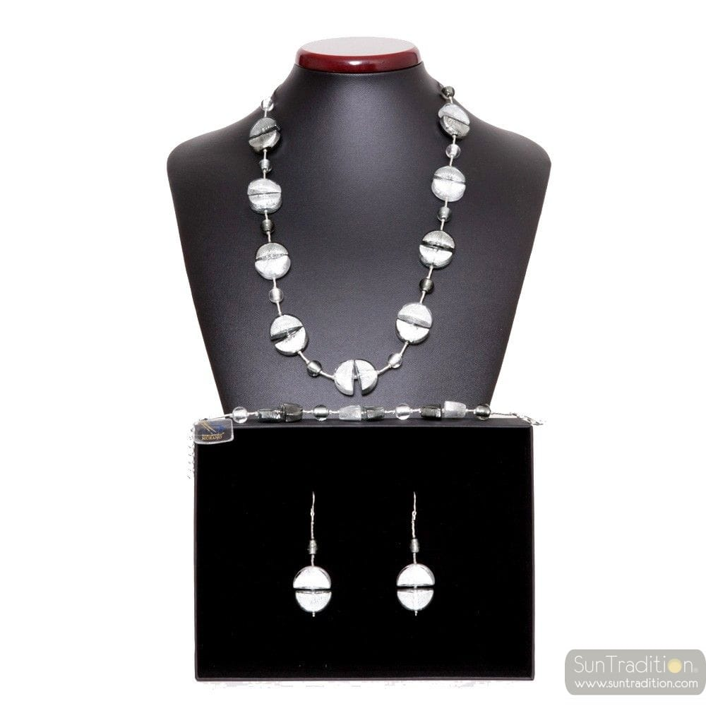 SILVER MURANO GLASS SET VENICE JEWELRY