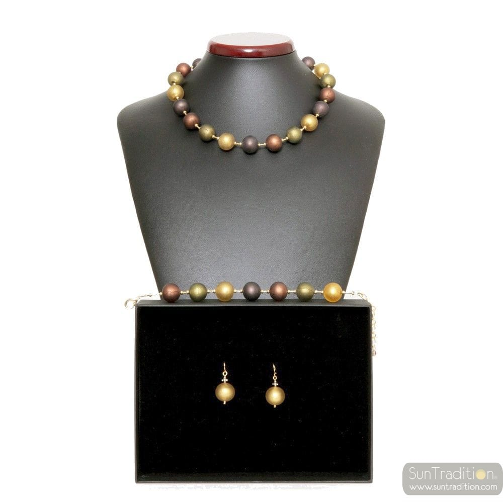 GOLD MURANO GLASS SET VENICE JEWELRY