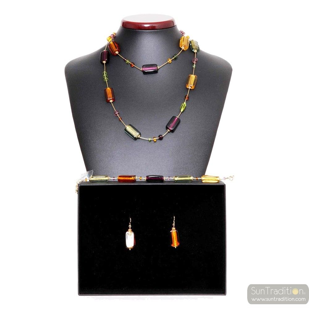 4 SEASONS FALL - Amber Murano Glass Jewelllery set real Venitian jewel Italy