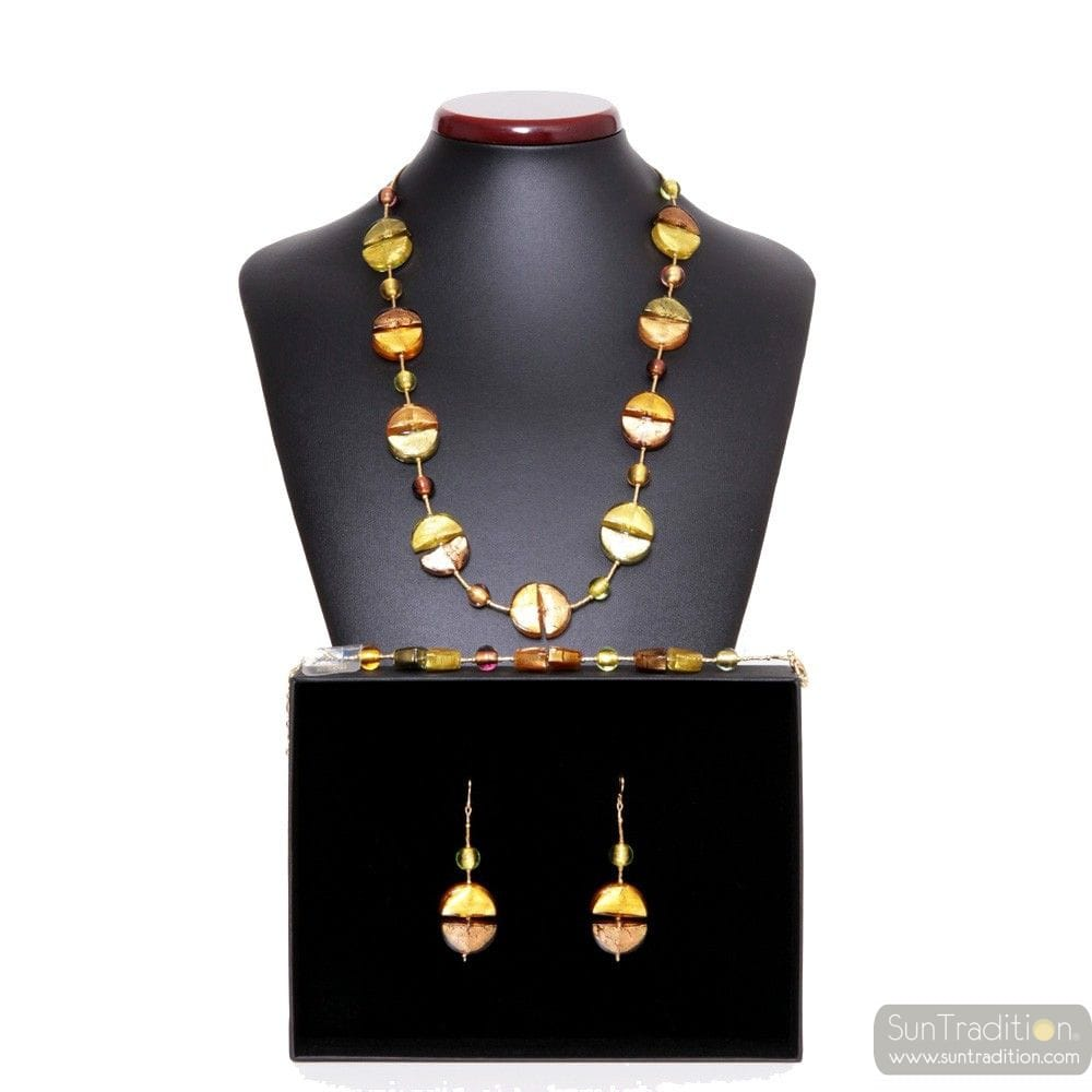 COLORADO GOLD - GOLD MURANO GLASS JEWELLERY SET IN REAL GLASS MURANO VENICE