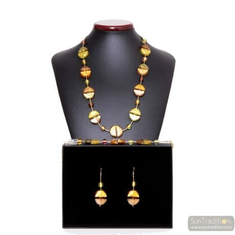 GOLD MURANO GLASS SET VENITIAN JEWELRY