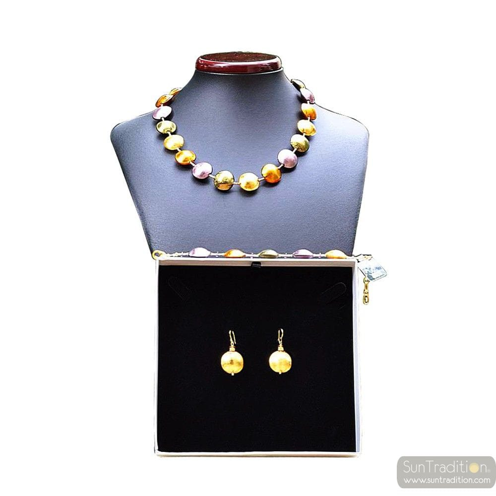 PASTIGLIA GOLD AND PARMA JEWELRY SET IN REAL GLASS MURANO