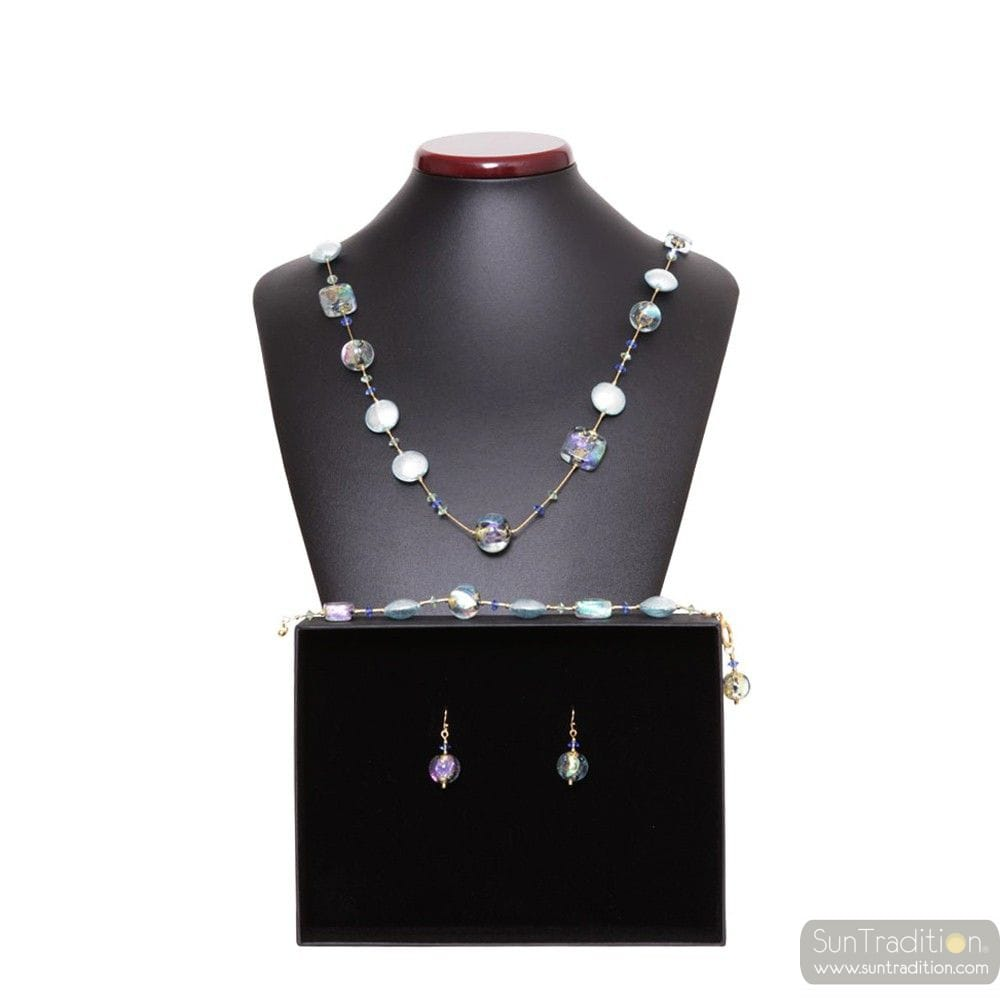 MOONLIGHT JEWELRY SET IN REAL VENICE MURANO GLASS
