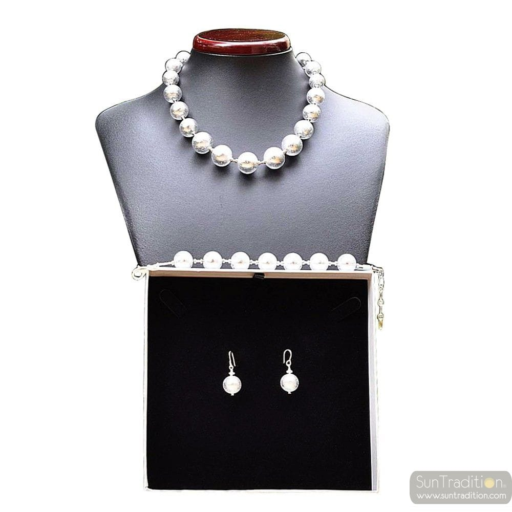 BALL SILVER JEWELRY SET IN REAL MURANO GLASS VENICE