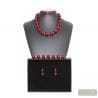 RED BALL MURANO GLASS SET VENITIAN JEWELRY