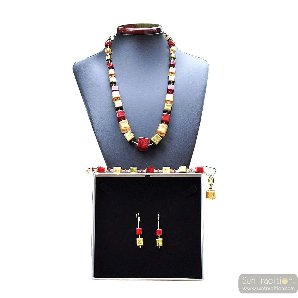DEGRADED CUBES RED AND GOLD JEWELRY SET IN REAL GLASS MURANO VENICE