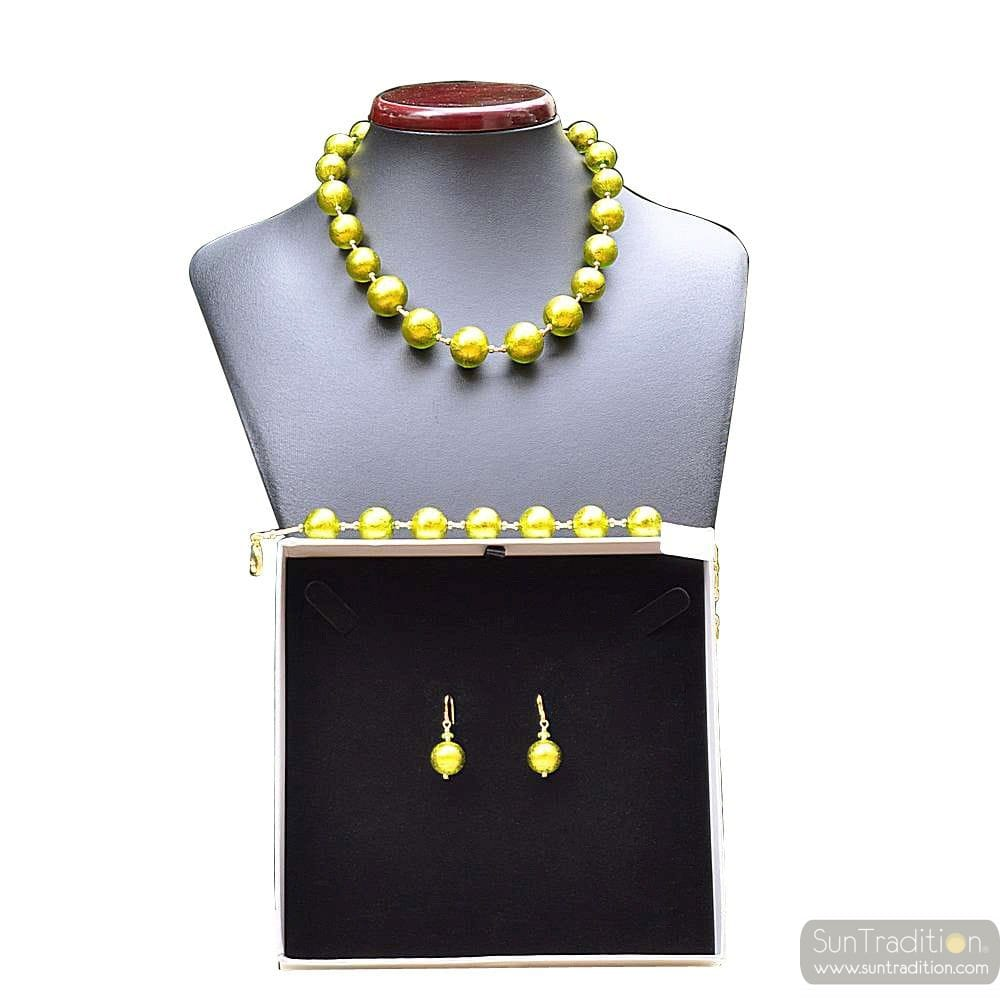 BALL ANIS GREEN - GREEN MURANO GLASS JEWELLERY SET IN REAL MURANO GLASS VENICE