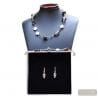 SILVER MURANO GLASS JEWELRY SET GENUINE JEWELRY SET MURANO GLASS VENICE