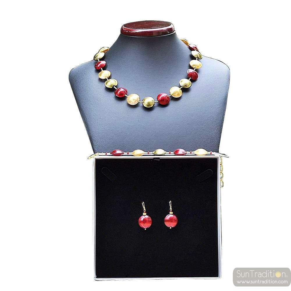 PASTIGLIA RED AND GOLD - RED AND GOLD MURANO GLASS JEWELLERY SET IN REAL VENITIAN GLASS