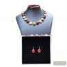 RED MURANO GLASS SET JEWELRY SET IN REAL GLASS MURANO