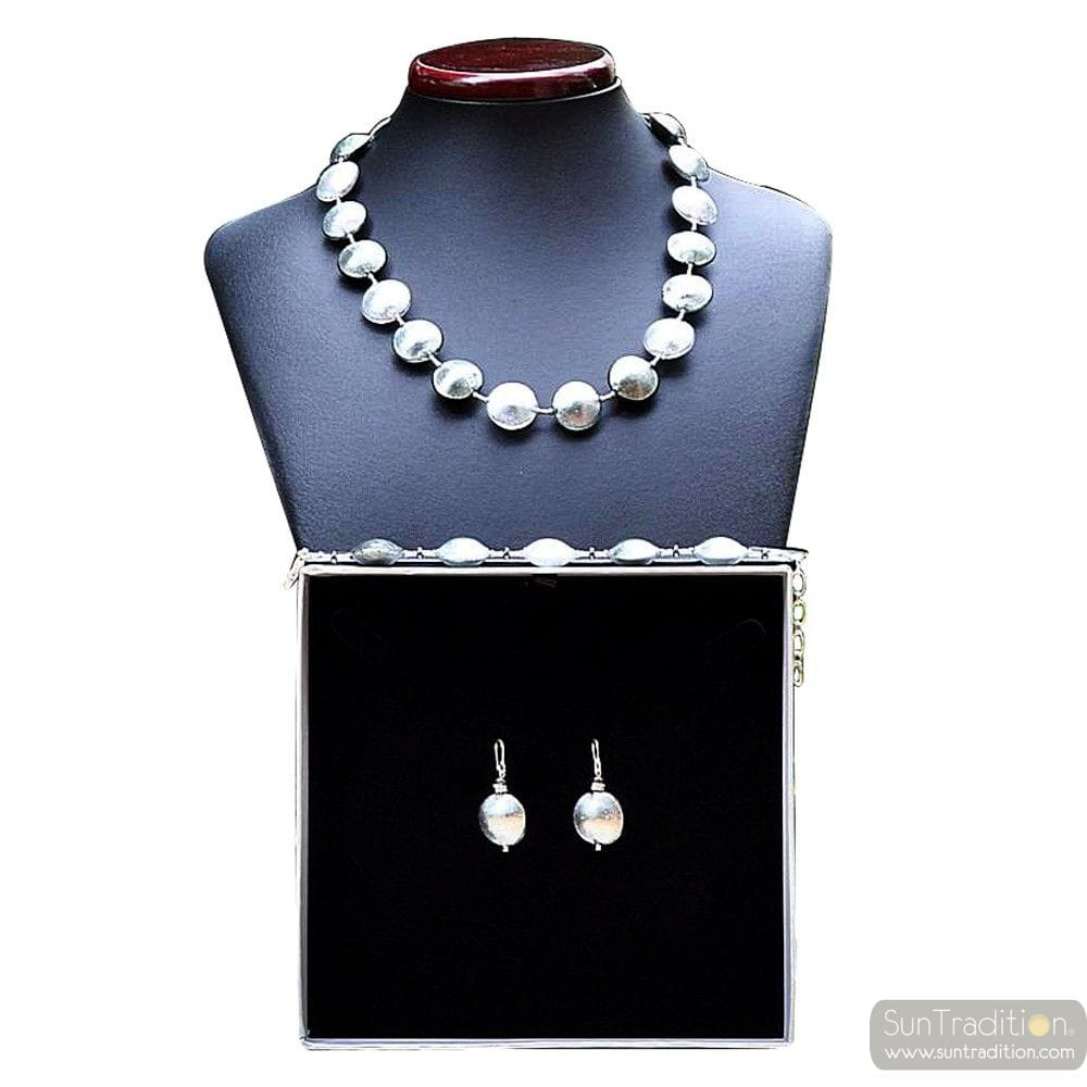 PASTIGLIA SILVER REAL JEWELRY SET IN MURANO GLASS VENICE