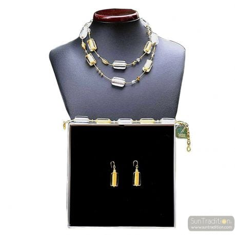 GOLD MURANO GLASS JEWELRY SET GENUINE MURANO GLASS