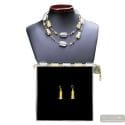 4 SEASONS LONG WINTER - GOLD JEWELRY SET GENUINE MURANO GLASS