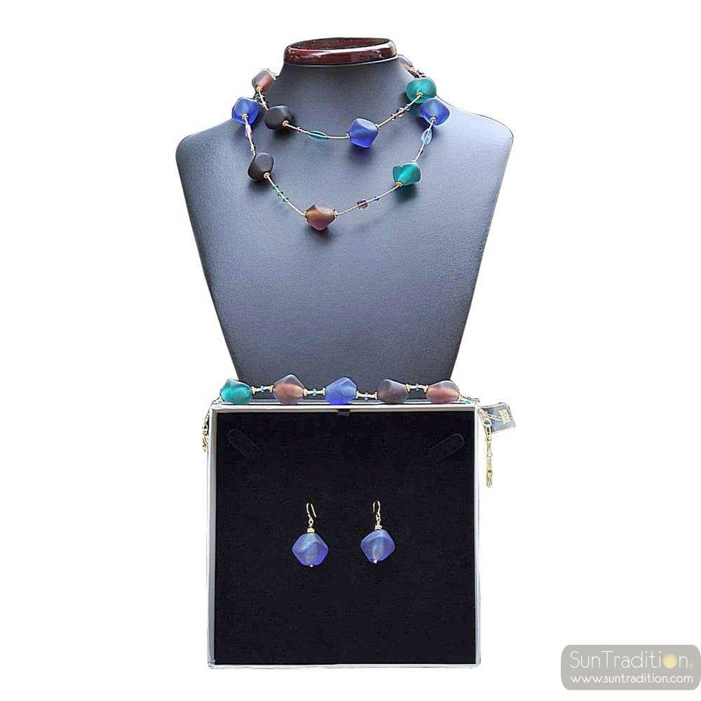 SCOGLIO BLUE OPERA LONG - BLUE MURANO GLASS JEWELLERY SET IN REAL VENITIAN GLASS