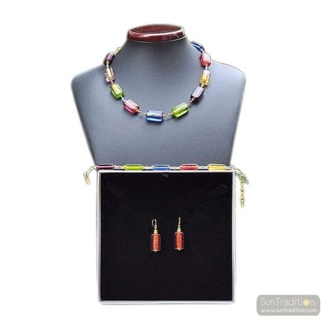 MULTICOLOR MURANO GLASS JEWELRY SET IN REAL MURANO GLASS