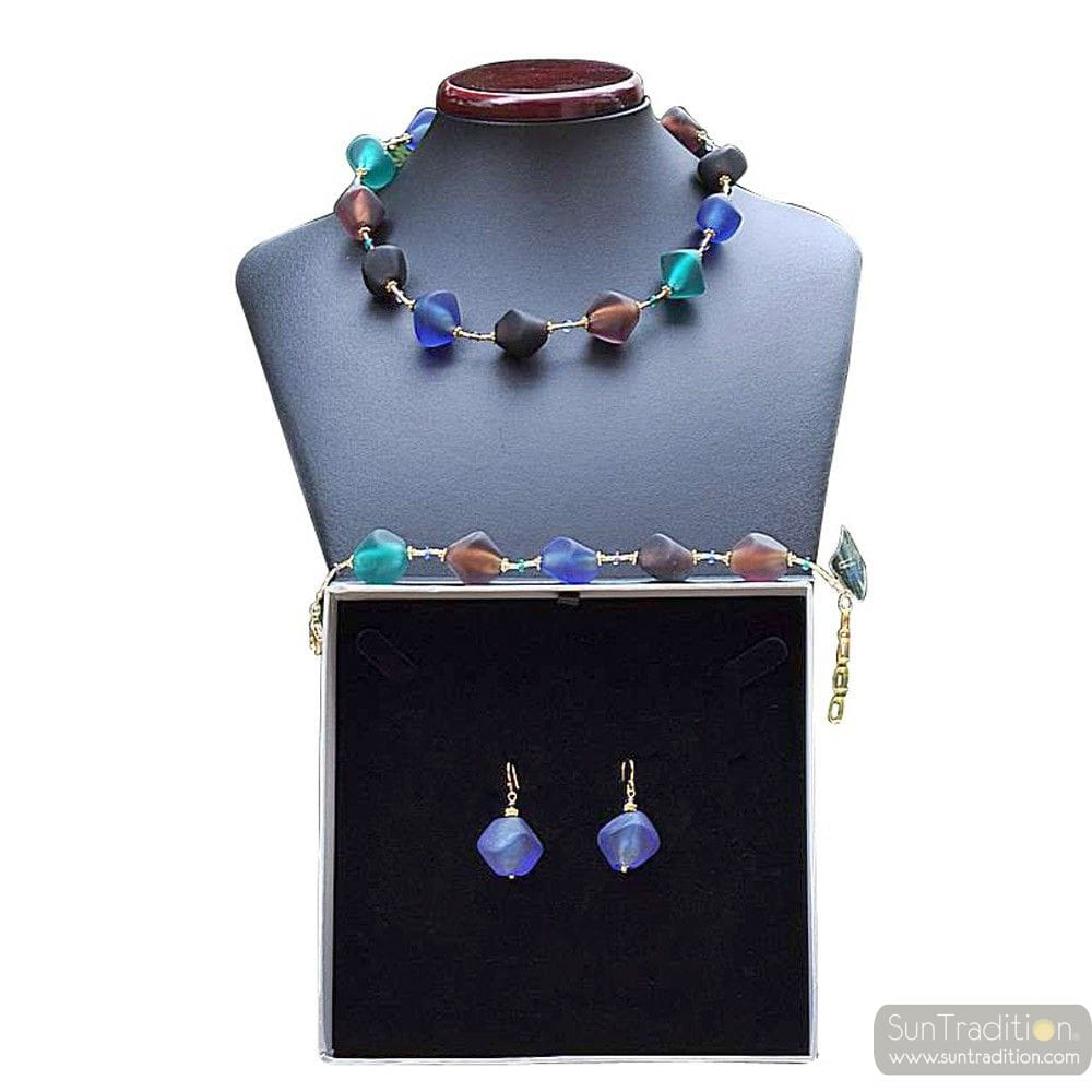 BLUE MURANO GLASS JEWELRY SET OF BLUE GENUINE MURANO GLASS